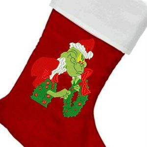 PERSONALIZED GRINCH CHRISTMAS STOCKING FREE NAME